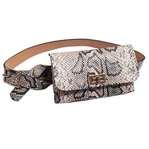 Handbags - Small Faux Leather Snakeskin Waist Fanny Belt Pack